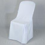 เก้าอี้พลาสติกสีขาวพร้อมผ้าคลุม