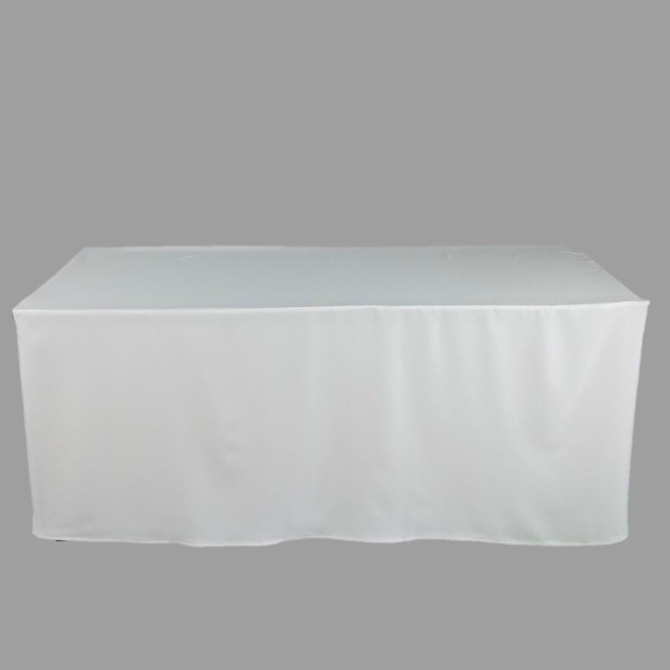โต๊ะเหลี่ยม 1.50 เมตรพร้อมผ้าคลุมสีขาวรัดรูป