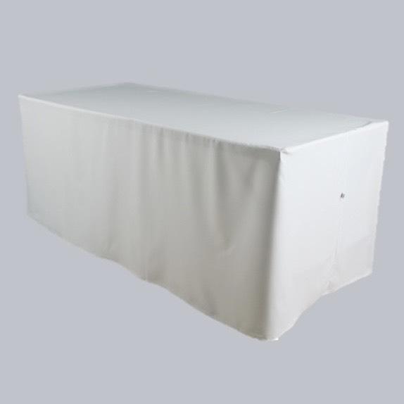 เช่าเช่าโต๊ะเหลี่ยม โต๊ะฟังส์ชั่น เช่าโต๊ะฟังส์ชั่น ขนาด 0.80*1.80*0.75 เมตรพร้อมผ้าคลุมสีขาวรัดรูป